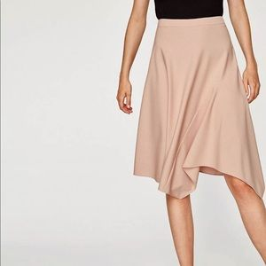 Pink Blush Asymmetric Midi Skirt Flowy Knee length